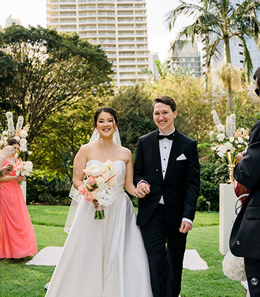 "Samantha & Jordan <br><span class=""subtitle"">City Botanic Gardens & Royal on the Park Hotel</span>"